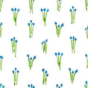 Blue watercolor tulips order
