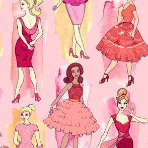 Girly Vintage Fashion Illustrations in Red & Orange on Peach Pink - large print