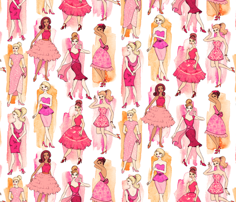 Girly Vintage Fashion Illustrations in Coral & Orange on Cream - large print fabric by micklyn on Spoonflower - custom fabric