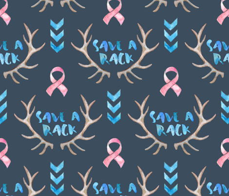 Save a Rack - watercolor antlers, ribbon, chevrons - on dark, large print fabric by micklyn on Spoonflower - custom fabric
