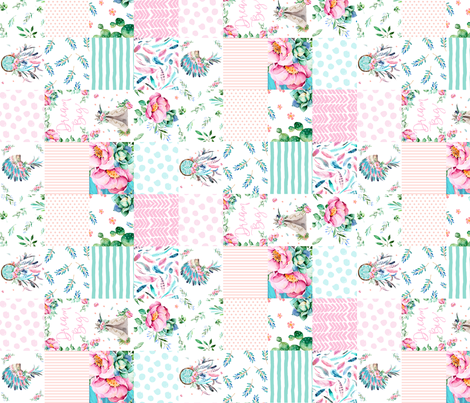 "8"" PINK AND AQUA BOHO CHEATER QUILT 90 DEGREES fabric by shopcabin on Spoonflower - custom fabric"