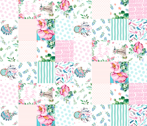"21"" PINK AND AQUA BOHO CHEATER QUILT 90 DEGREES fabric by shopcabin on Spoonflower - custom fabric"