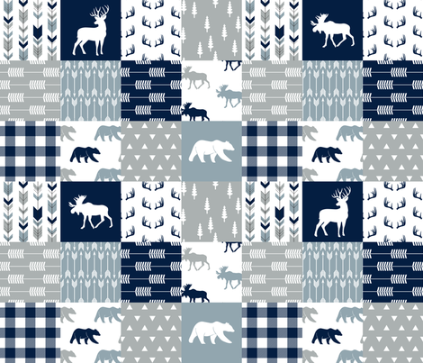 Woodland Wholecloth (moose, deer, and bear)  - plaid fabric by littlearrowdesign on Spoonflower - custom fabric