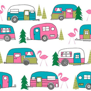 vintage camper (large scale) // retro vintage campers cute pink and white flamingo retro road trip
