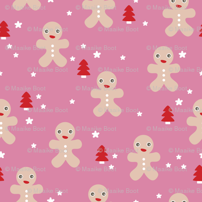 December happy holidays christmas theme kids gingerbread man and christmas trees and stars illustration in pink girls