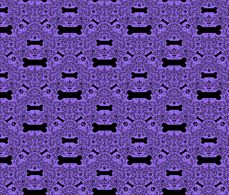 Doggie Damask (Purple) fabric by robyriker on Spoonflower - custom fabric