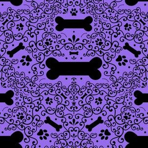 Doggie Damask (Purple)