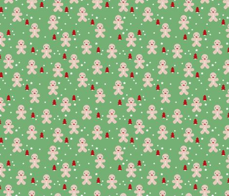 December happy holidays christmas theme kids gingerbread man and christmas trees and stars illustration in green red fabric by littlesmilemakers on Spoonflower - custom fabric