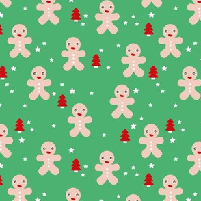 December happy holidays christmas theme kids gingerbread man and christmas trees and stars illustration in green red