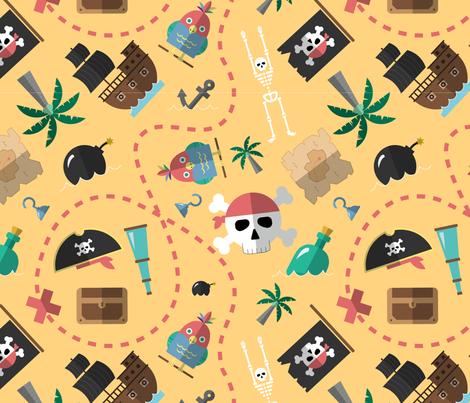 Treasure island. Pirate adventure seamless pattern fabric by doozydo on Spoonflower - custom fabric