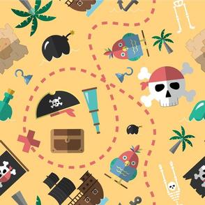 Treasure island. Pirate adventure seamless pattern