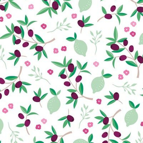 Sweet italian floral olive lemon garden in pink green and mint summer love print
