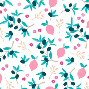 Sweet italian floral olive lemon garden in pink peach and blue summer love print