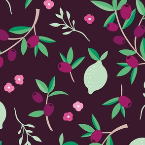 Sweet floral olive lemon garden in red wine and green summer love print jumbo
