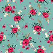 """4"""" Rose floral - roses floral fabric, florals fabric, pink valentines feminine floral, chintz, nursery, baby girl floral - mint"""