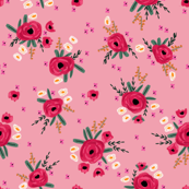"""4"""" rosa floral fabric - floral fabric, nursery floral fabric, baby girl fabric, baby girl, girls floral, cute florals - pink"""