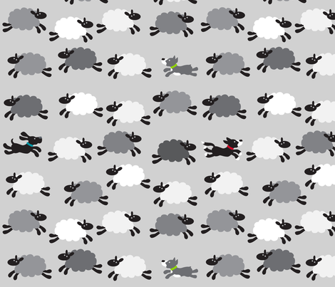 ChasingtheSheepGreyLargeScale fabric by beckarahn on Spoonflower - custom fabric