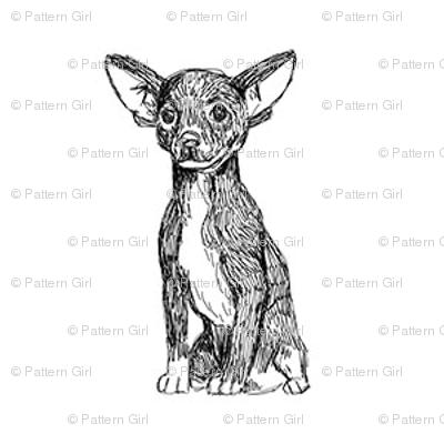 chihuahua fabric, dog fabric, dogs fabric, pet fabric, - black and white