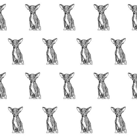 chihuahua fabric, dog fabric, dogs fabric, pet fabric, - black and white fabric by patterngirl on Spoonflower - custom fabric