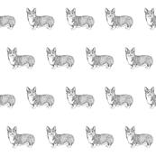 corgi fabric, dog fabric, dogs fabric, pet fabric, - black and white