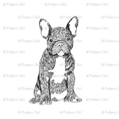 french bulldog fabric - dog fabric, dogs fabric, pet fabric, - black and white