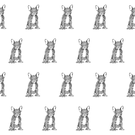 french bulldog fabric - dog fabric, dogs fabric, pet fabric, - black and white fabric by patterngirl on Spoonflower - custom fabric