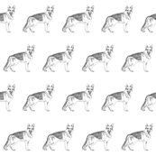 german shepherd fabric, dog fabric, dogs fabric, pet fabric, - black and white