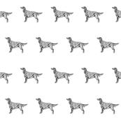 irish setter fabric, dog fabric, dogs fabric, pet fabric, - black and white