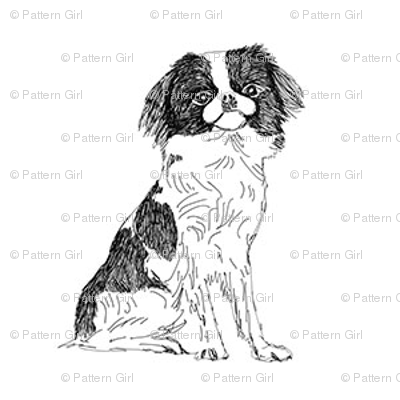 japanese chin fabric, dog fabric, dogs fabric, pet fabric, - black and white