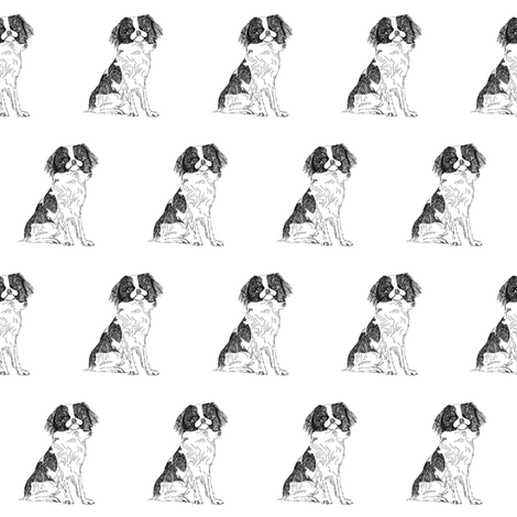 japanese chin fabric, dog fabric, dogs fabric, pet fabric, - black and white fabric by patterngirl on Spoonflower - custom fabric