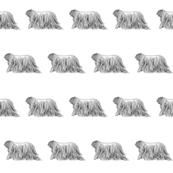 komondor fabric, dog fabric, dogs fabric, pet fabric, - black and white