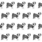 old english sheepdog fabric, dog fabric, dogs fabric, pet fabric, - black and white