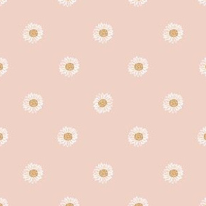 blush minimal daisy fabric, sfx1404 - daisies, simple prairie fabric, baby girl, muted, earthy, daisy fabric