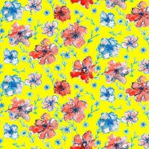 Red and Blue Floral Yellow Background