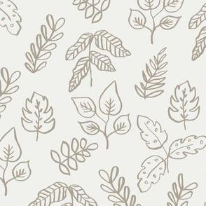 minimal leaf fabric - taupe sfx0906 - leaf, leaves, baby, nursery, natural, minimal, simple, earthy, gender neutral