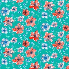 Red and Blue Floral Green Background