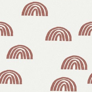Scattered Rainbows Fabric - Redwood sfx1443 || Earth toned rainbows fabric || Rainbow Baby kids bedding