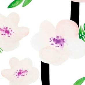 Botanical aloha garden watercolors summer palm leaves and cherry flowers blossom stripes purple green jumbo