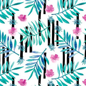 Botanical aloha garden watercolors summer palm leaves and tropical flowers blossom stripes blue pink