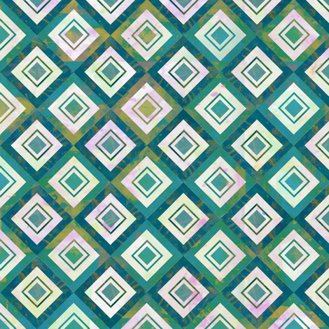 Mosaic Blue Diamonds - Large Scale fabric by sarah_treu on Spoonflower - custom fabric