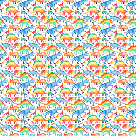 Rainbow Dinosaurs - tiny scale fabric by emeryallardsmith on Spoonflower - custom fabric
