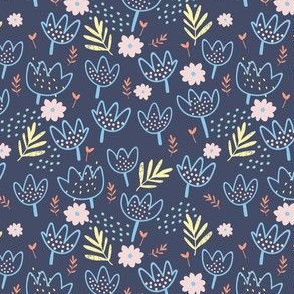 ROARING SUMMER FLOWERS navy
