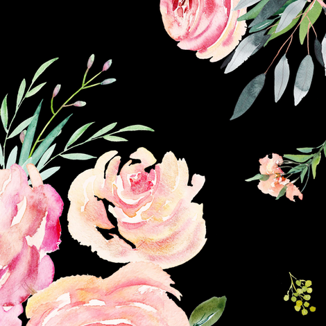 "18"" Graceful Blooms - Black fabric by shopcabin on Spoonflower - custom fabric"