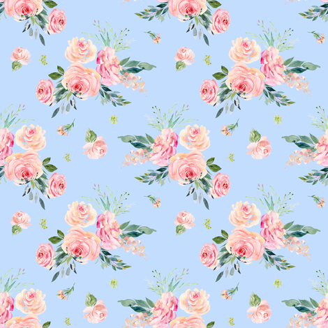"""4"""" Graceful Blooms - Blue fabric by shopcabin on Spoonflower - custom fabric"""