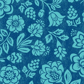 Cut Flowers Navy and Teal