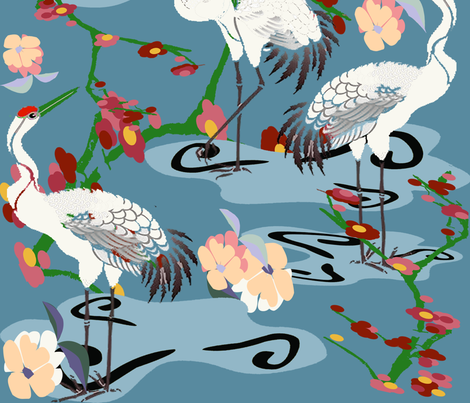 Cranes Garden copy fabric by lorloves_design on Spoonflower - custom fabric