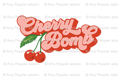 Cherry Bomb Tea Towel* || cherries typography 70s 1970s seventies retro groovy vintage cut and sew kitchen summer fruit