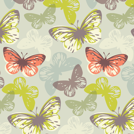 butterfly flutter - coral & lime fabric by studiojenny on Spoonflower - custom fabric