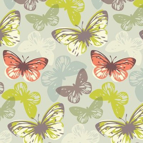 butterfly flutter - coral & lime