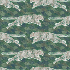 Watercolored leaping Amur Leopards - green